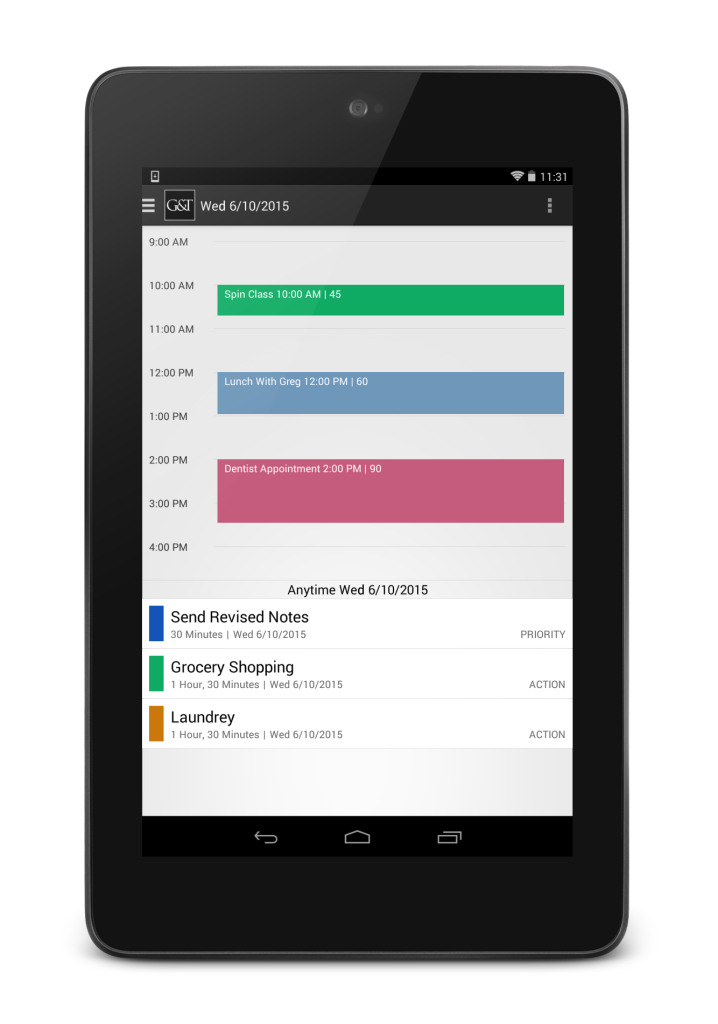 A big-picture view of your day, with a task list and calendar view in the app Simply Goals & Tasks