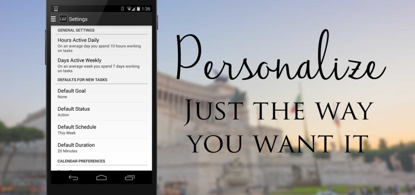 Personalize - Just the way you want it - Simply Goals & Tasks - Release 0.04 - Settings Update