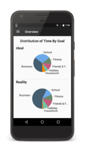 Distribution of time by goal pie chart