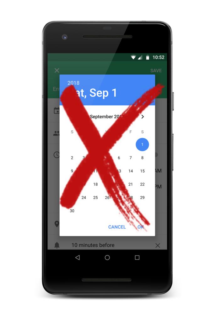 Crossed out screenshot of Google Calendar